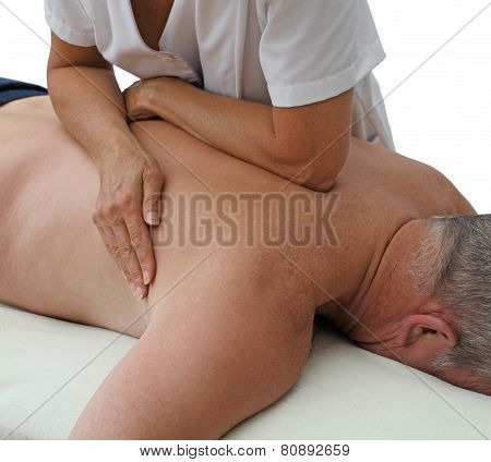 Therapist applying pressure with forearm