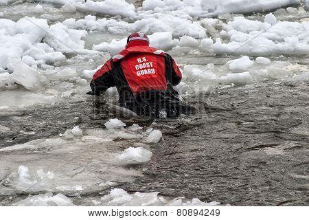 Coast Guard training on ice flo