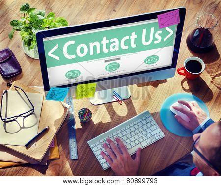 Digital Online Business Service Contact us Concept