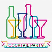 Abstract colorful cocktail glass background. Concept for bar menu party alcohol drinks celebration holidays wine list. Creative glowing design. poster