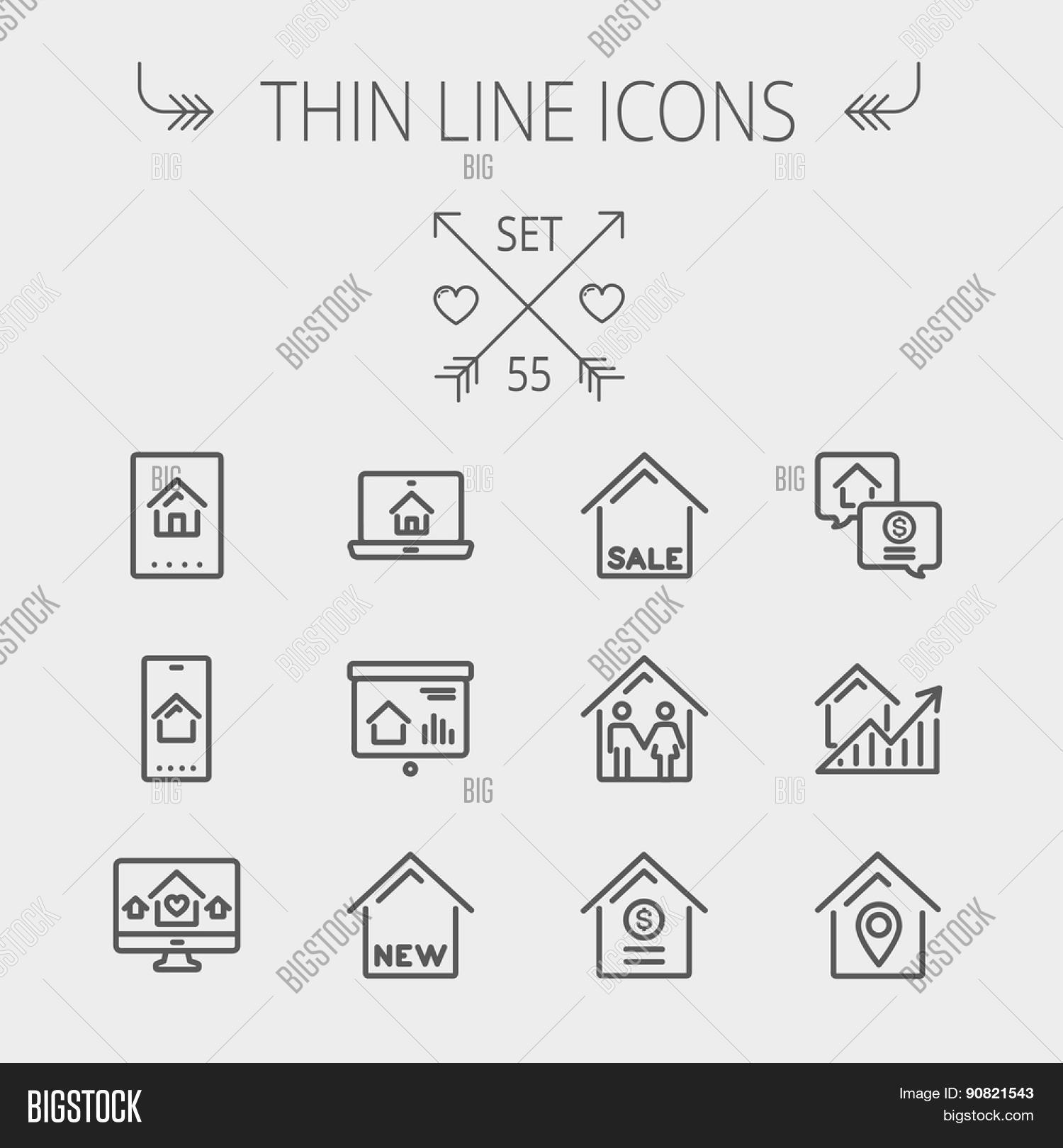 Real estate thin line vector photo free trial bigstock real estate thin line icon set for web and mobile set includes electronic keycard colourmoves