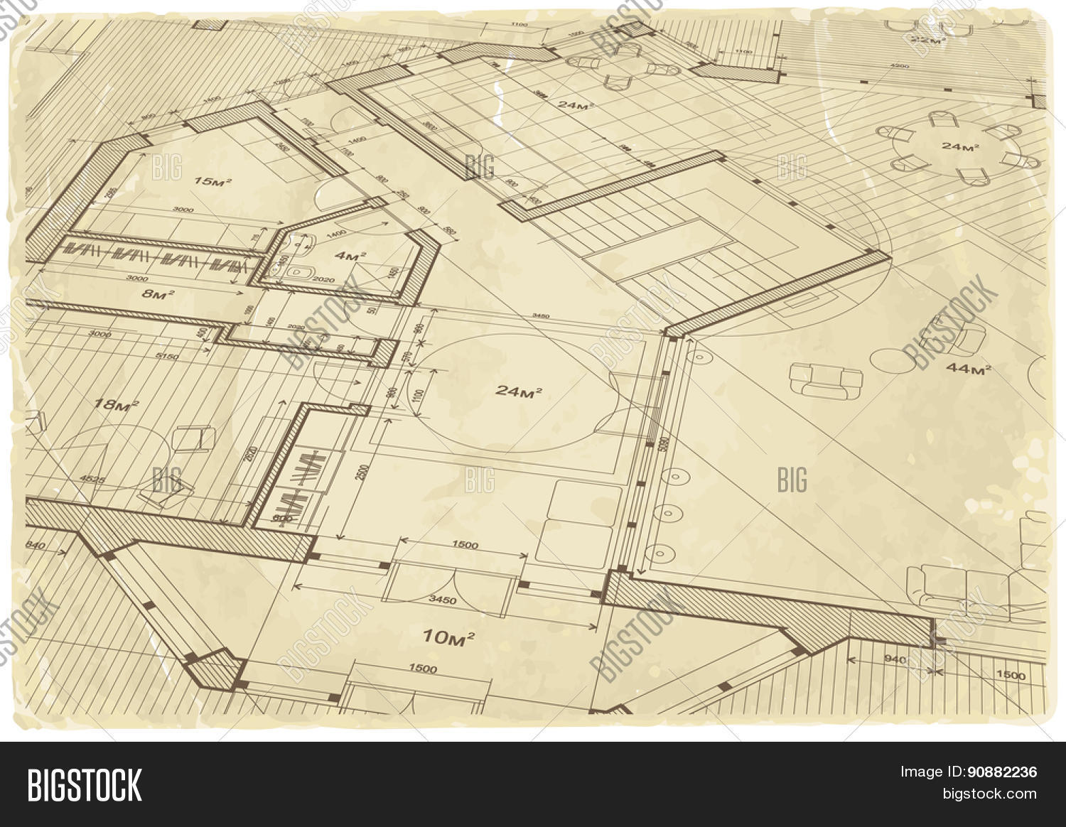 Architectural Drawing House Plan Vector Photo Bigstock