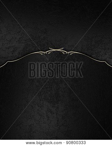 Black Velvet Background With Gold Pattern. Template Design For Text. Template For Site