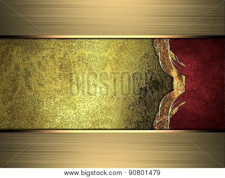 Grunge Gold Background With Red Side And Gold Edges. Design Template. Design Site