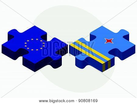 Vector Image - European Union and Aruba Flags in puzzle isolated on white background.. poster