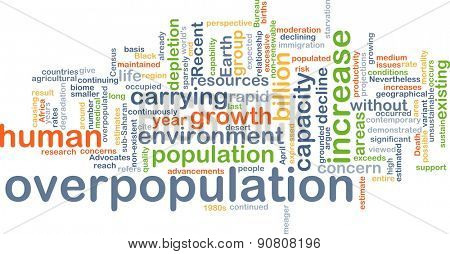 Background concept wordcloud illustration of overpopulation