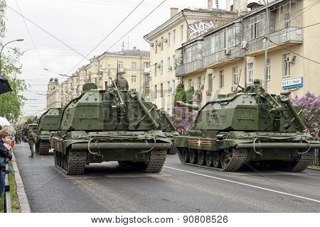A Column Of Armored Vehicles And Tanks Built Outside The World To Participate In The Victory Parade.