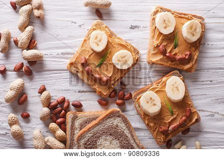Funny Sandwiches With Peanut Butter. Horizontal Top View
