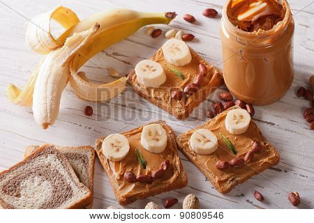 Sandwiches For Children With Peanut Butter Horizontal Top View