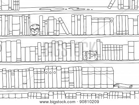 Outline Of Bizarre Bookshelf