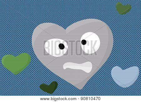 Nervous Blue Heart Symbol