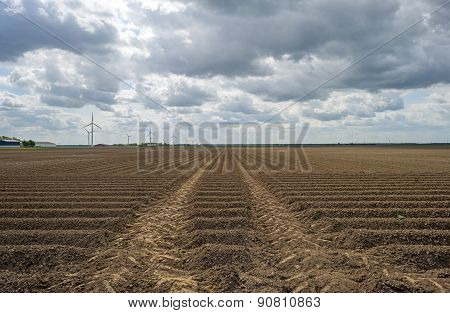 Plowed field with furrows under deteriorating weather