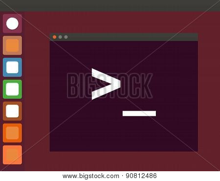 Terminal startup icon and linux interface, direct access to system via command line - illustration