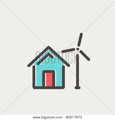 House with windmill icon thin line for web and mobile, modern minimalistic flat design. Vector icon with dark grey outline and offset colour on light grey background.