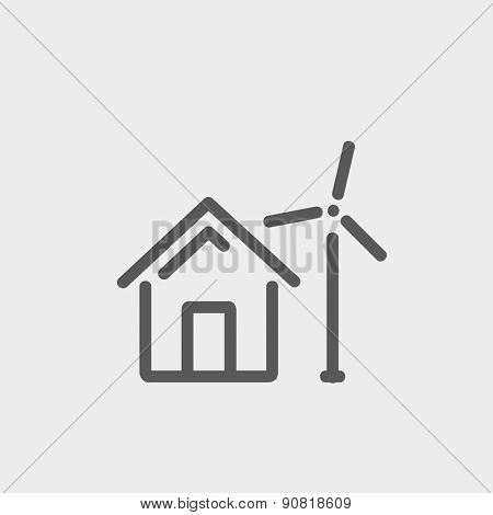 House with windmill icon thin line for web and mobile, modern minimalistic flat design. Vector dark grey icon on light grey background.