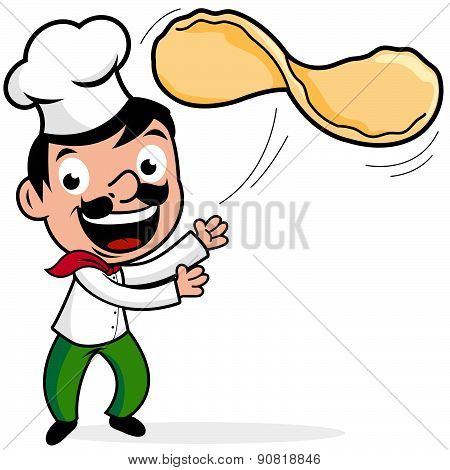 Vector illustration of a cartoon Italian chef making a pizza, tossing pizza dough. poster