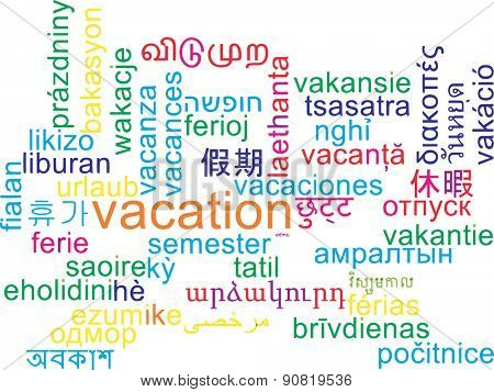 Background concept wordcloud multilanguage international many language illustration of vacation