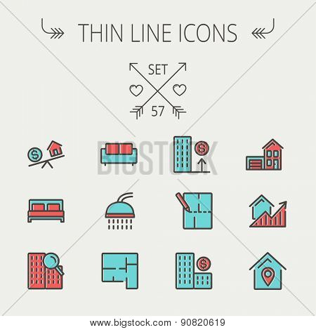 Real estate thin line icon set for web and mobile. Set include- sofa, double bed, shower, drawing, buildings, house with garage icons. Modern minimalistic flat design. Vector icon with dark grey