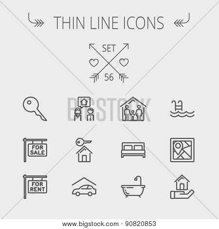 Real estate thin line icon set for web and mobile. Set includes- key, placard, couple, garage, family, tub, pool icons. Modern minimalistic flat design. Vector dark grey icon on light grey background.