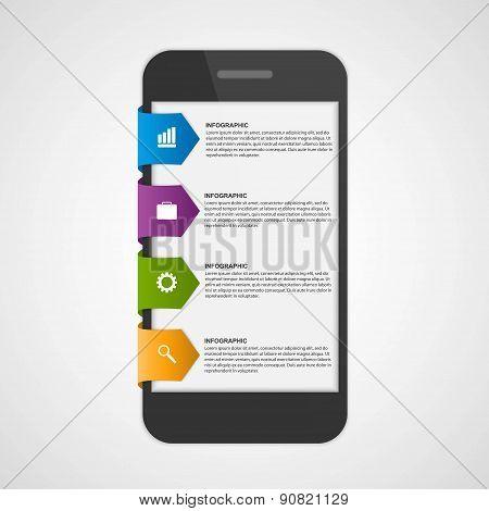 Mobile Infographic Design Concept. Design Elements. Vector Illustration.
