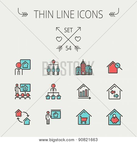 Real estate thin line icon set for web and mobile. Set include-agents, training, seminar, building, growth graph, house with magnifying glass icons. Modern minimalistic flat design. Vector icon with poster