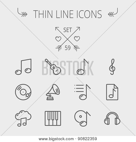 Music and entertainment thin line icon set for web and mobile. Set includes- musical notes, phonograph record, g- clef, headphone, gramophone, guitar, piano icons. Modern minimalistic flat design poster