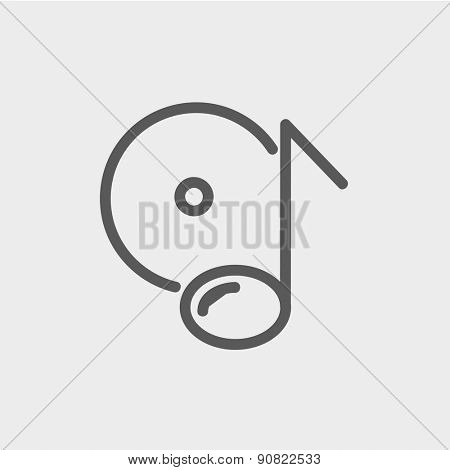 Note with phonograph record icon thin line for web and mobile, modern minimalistic flat design. Vector dark grey icon on light grey background.