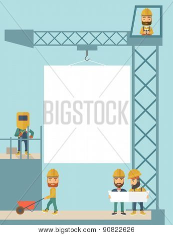 A experienced team workers with white board wearing helmets . A Contemporary style with pastel palette, soft blue tinted background. Vector flat design illustration.Vertical layout.