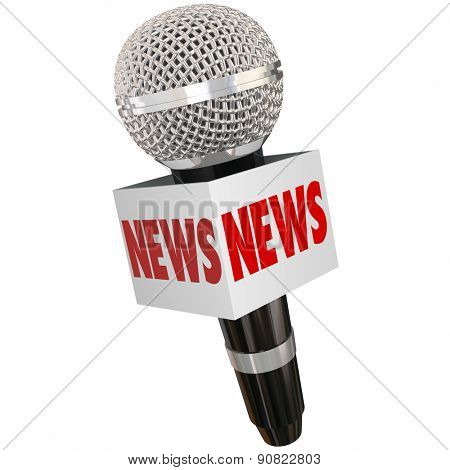News word on a microphone or mic box to illustrate interviewing a subject for radio, tv, television, podcast or online journalism reporting poster