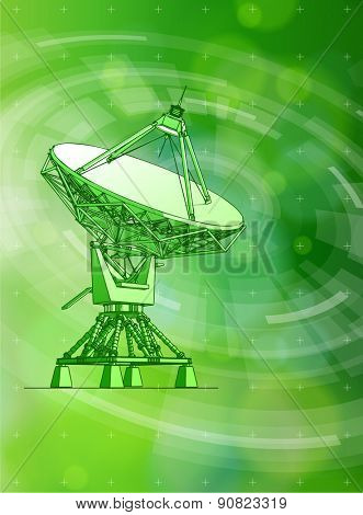 Ecology technology concept - large astronomical Doppler radar, radial HUD elements & green bokeh abstract light background