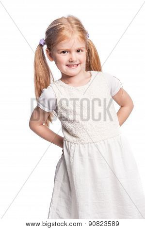 Beautiful Happy Little Girl With Pony Tail Hair.
