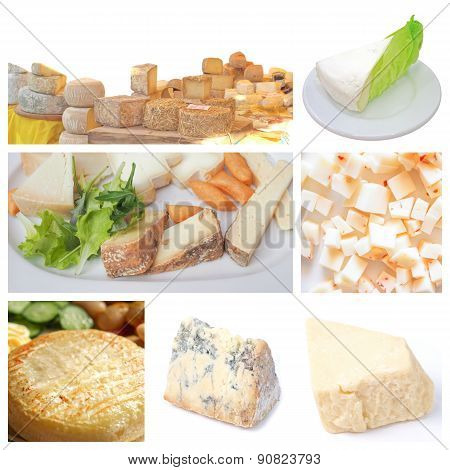 Vegetarian food collage: fine British French and Italian cheeses including Cheddar cheese Stilton Brie and Toma poster