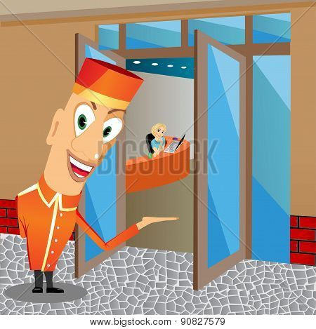 smiling bellhop inviting you