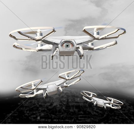 The Drone . New technology for war. Digital artwork fictional vehicles on UAV theme.