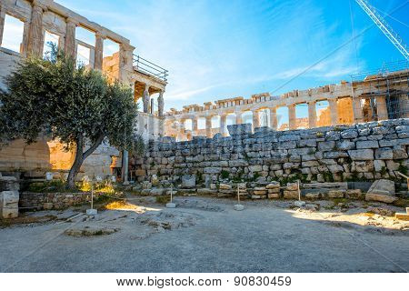 Erechtheum and Parthenon temple in Acropolis