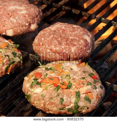Minced Beef Pork Mutton Burgers On The Hot Bbq Grill