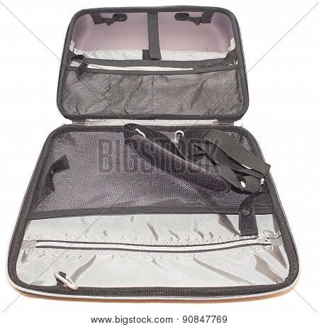 Suitcase laptop on a white background Notebook Pachwork nobody