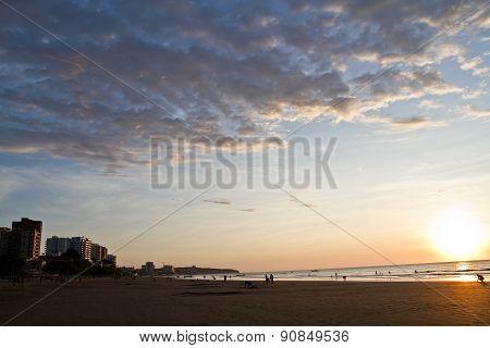Beautiful view of Murcielago beach in Manta, ecuadorian coastal city,