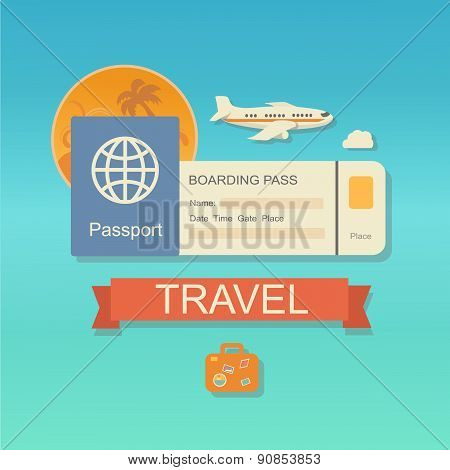 Vector modern flat design web icon on airline tickets and travel with jet airliner flying, passport,