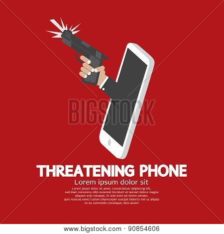 Hand With Gun Threatening Phone Concept.