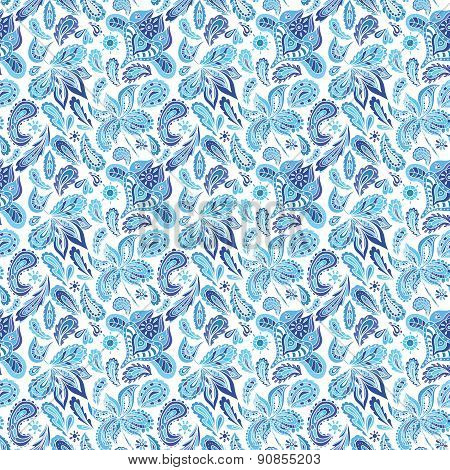 Blue Ethnic Paisley Ornament Pattern