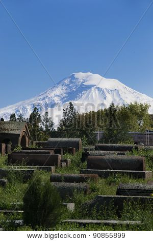 Ancient Gravestones, Background Ararat, Masis, Etchmiadzin Cathedral, Armenia