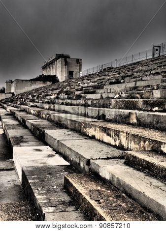 Dramatic view of the defunct main tribune of the former Nazi Party
