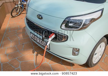 Jeju-do, Korea - April 10, 2015: Recharging Kia Ray Ev Electric Car