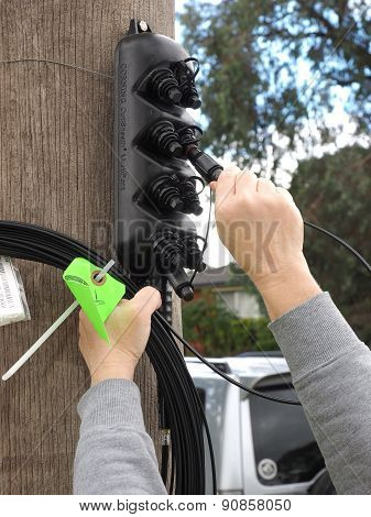Customer connection cable being plugged into a multiport on a pole