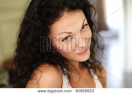 Delight. Happy Flirtatious Coquette smiling