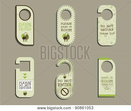 Organic Door knob or hanger sign set- do not disturb design. With Eco and bio logo template. Vector