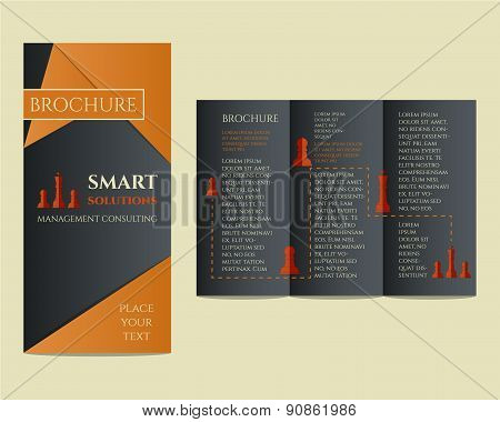 Business Brochure and flyer design template in polygonal style concerning to management, finance, co