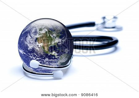Earth, Featuring Usa, Enclosed In Stethoscope