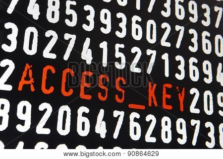 Computer Screen With Access Key Text On Black Background